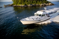 Sabre 54 Flybridge running in Portland, Maine.