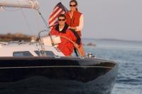 Sabre Spirit sailing off Portland Maine.